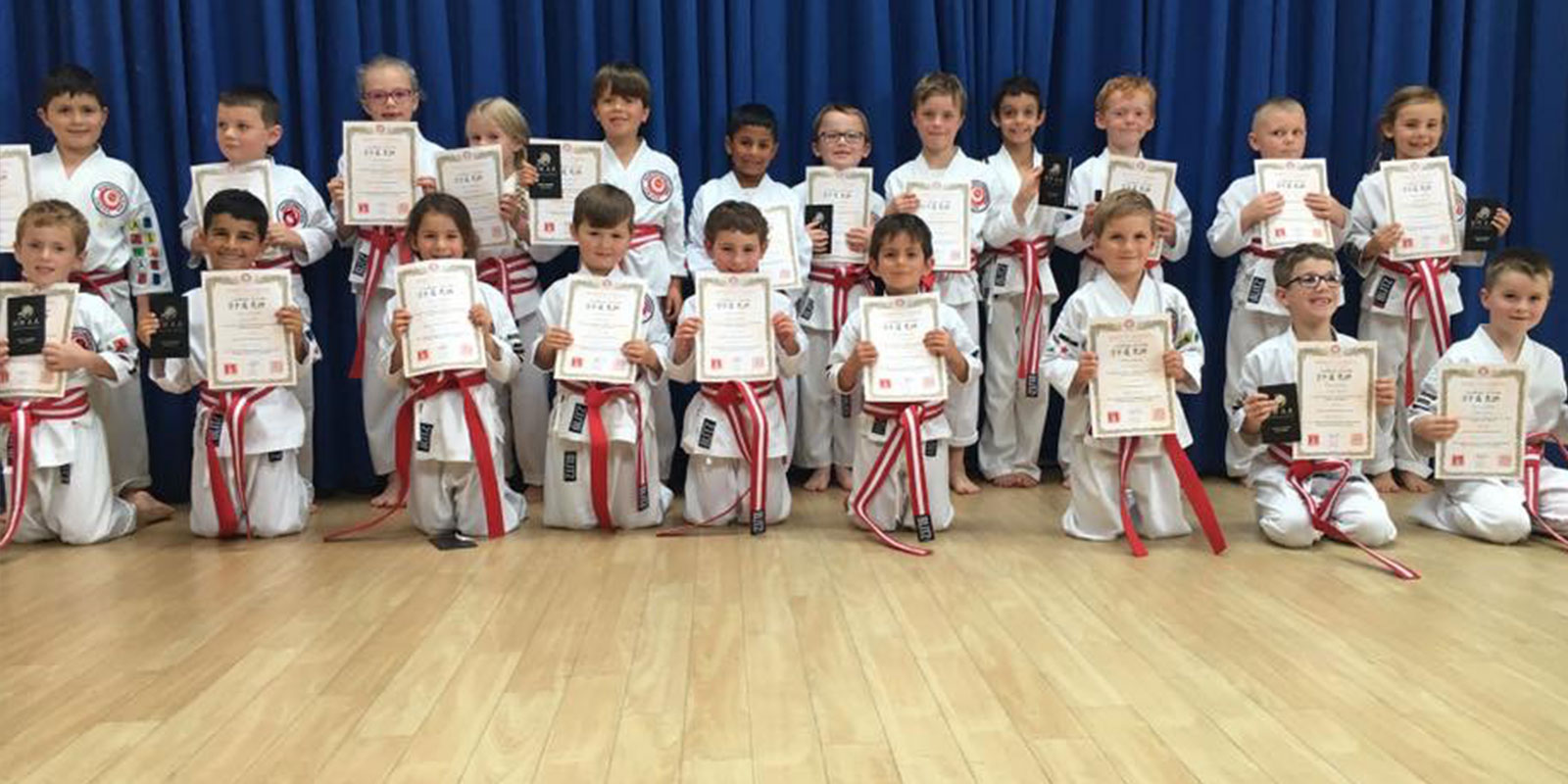 Junior karate class full of children