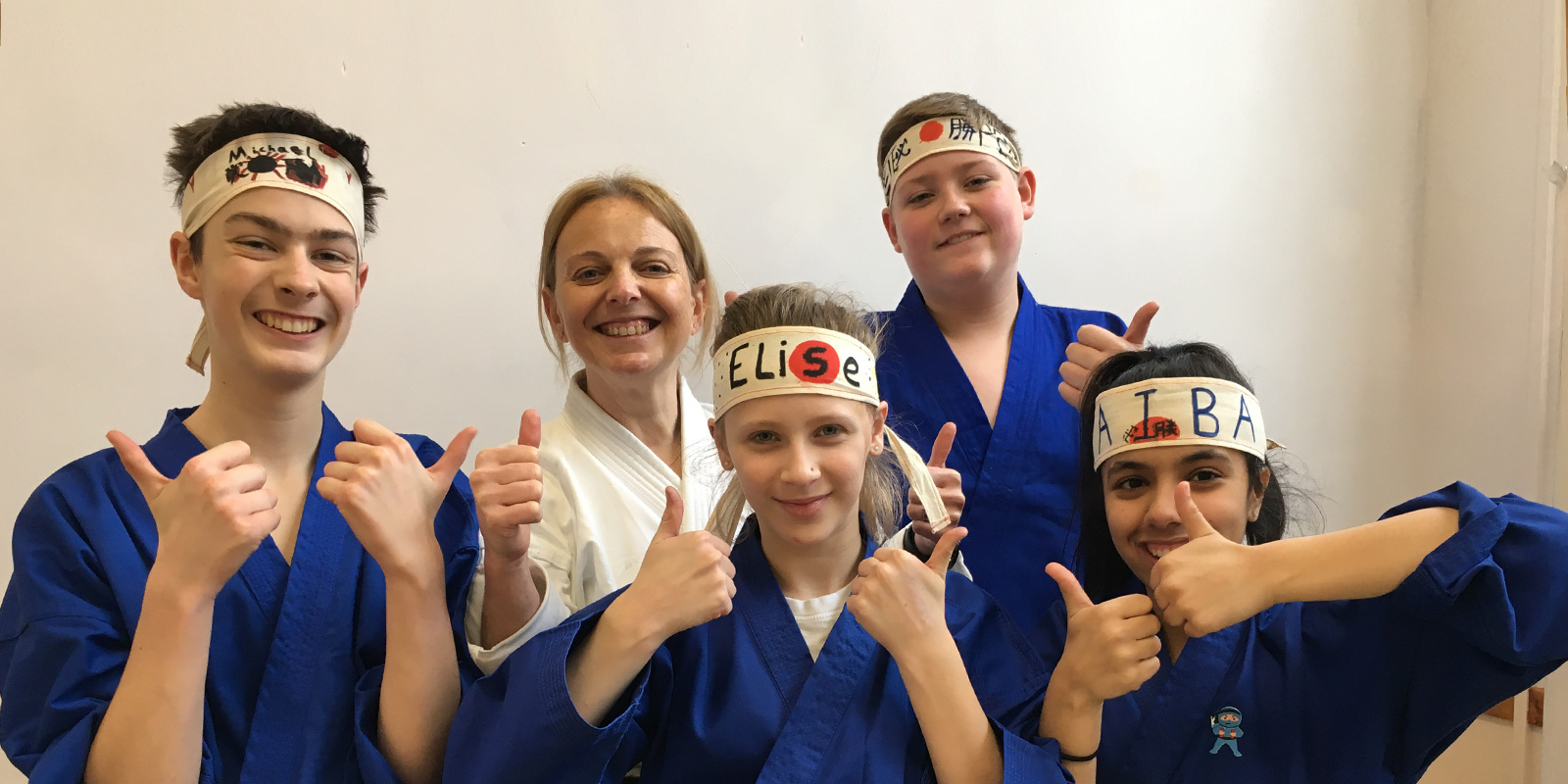 Cardiff karate party helpers and staff