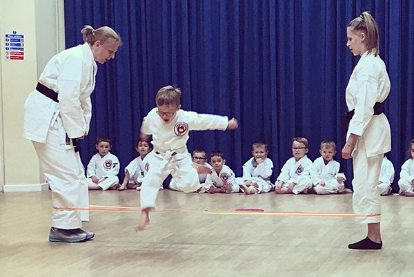 Karate class with children age 3 to 4